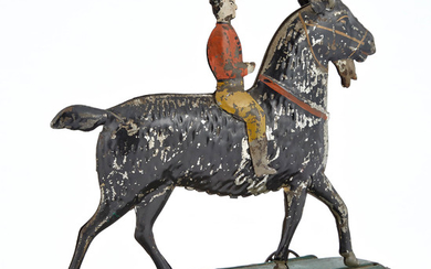 Large Billy Goat with Rider Tin Toy