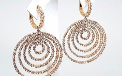 Leo Pizzo - 18 kt. Pink gold - Earrings - 9.25 ct Diamond