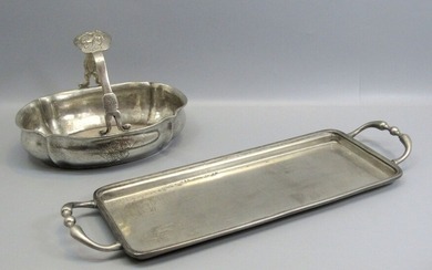Lot of 2 Antique Style European Pewter Dishes