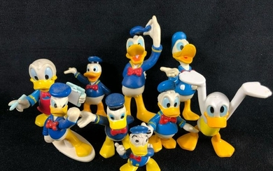 Lot of 9 Vintage Donald Duck Figurine Plastic Classic