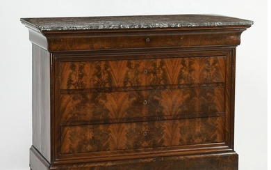 Louis-Philippe style marble top mahogany commode