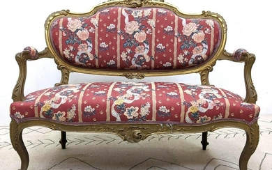 Louis XV Style Settee Sofa with Carved Frame and Open A