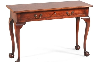 "MAHOGANY SOFA TABLE With a rectangular top, two short drawers and cabriole legs. Height 27.5"". Width 41"". Depth 15""."