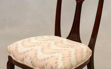 MAHOGANY & SATINWOOD SIDE CHAIR, C. 1900