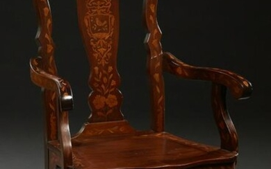 Marquetry Inlaid Mahogany Chippendale Style Armchair