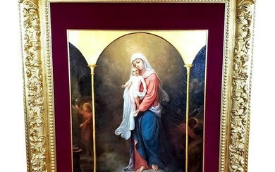 Monumental 18th C. Oil on Canvas of Mary & Jesus