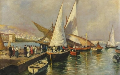 Napoli Harbour, Italian School oil onto board, bearing