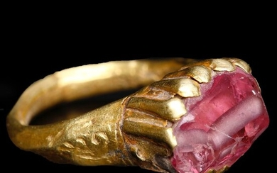 Near Eastern Gold Ornate Ring with Pink Stone