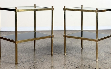 PAIR BRASS GLASS MID CENTURY MODERN END TABLES