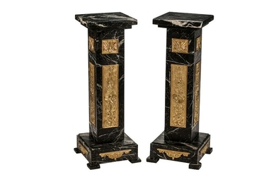 PAIR OF LOUIS XVI STYLE CARVED MARBLE & BRONZE-MOUNTED