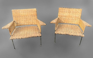 PAIR OF MID-CENTURY WOVEN CLUB CHAIRS