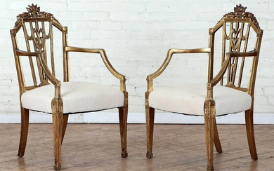 PAIR REGENCY STYLE GILT CARVED OPEN ARM CHAIRS