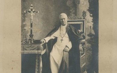 PIUS X: (1835-1914) Pope of the Catholic Church 1903-14. A fine vintage signed 10.5 x 13.5 photograp...