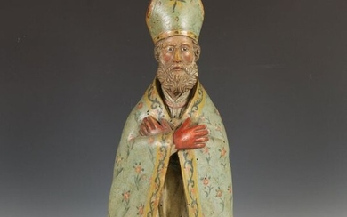 Painted and carved wooden sculpture, 19th century;, Bishop...