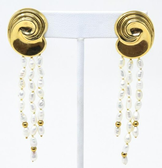 Pair 14K Rice Pearl Tassels Pierced Earrings