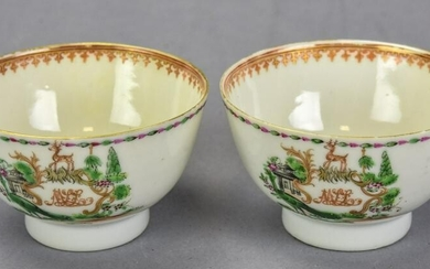 Pair Antique 18th C Chinese Export Porcelain Cups