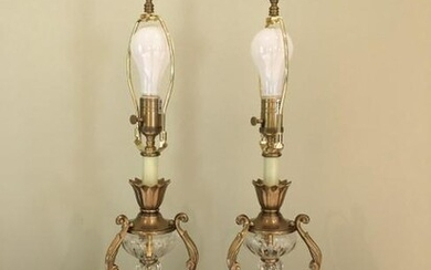 Pair French Style Crystal & Brass Table Lamps
