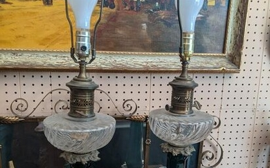 Pair c1940s Oil Style Tall Brass & Green Glass