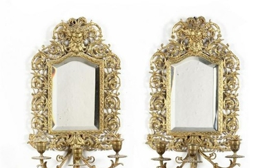 Pair of Antique Mirrored Brass Sconces
