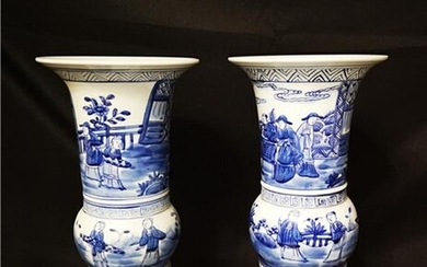 Pair of Chinese Blue And White Porcelain Vases