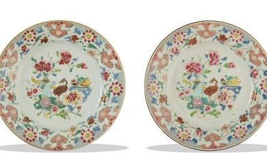 Pair of Chinese Famille Rose Plates, 18th Century