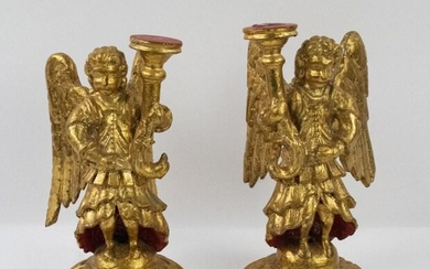 Pair of Continental Carved Gilt Wood Angels