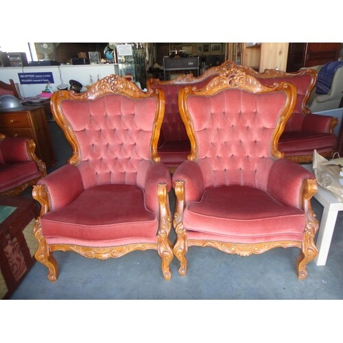 Pair of French Louis Style Carved Wood Armchairs Upholstered...