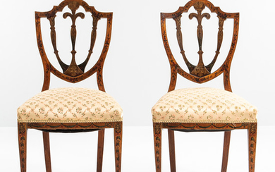 Pair of George III-style Polychrome Painted Mahogany Side Chairs