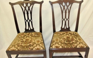 Pair of Georgian Chippendale mahogany occasional chairs with...