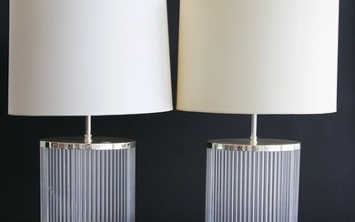 Pair of Modern Reeded Cylindrical Lamps