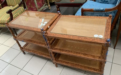 Pair of Occasional Tables with Caned Tops