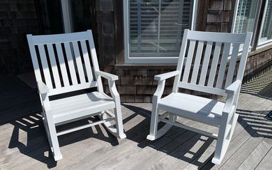 Pair of Weatherend Rocking Chairs in White Yacht Painted Finish