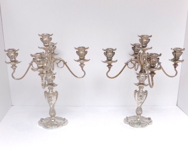 Pairpoint - A pair of high silver-plated 5-arm Art Nouveau candlesticks