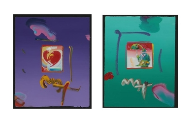 Peter Max, unique lithos, Heart; Umbrella Man