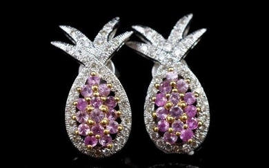"Pink sapphire and diamond set ""pineapple"" earrings in 18ct w..."