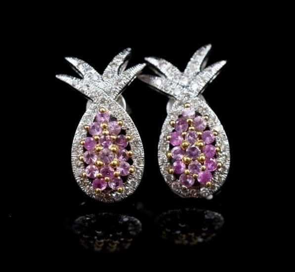 """Pink sapphire and diamond set """"pineapple"""" earrings in 18ct w..."""