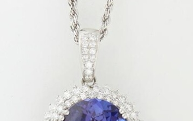 Platinum Pendant with an oval 25.21 ct. tanzanite atop