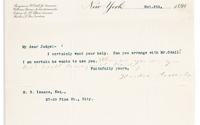 ROOSEVELT THEODORE Typed Letter Signed to Judge Myer Samuel