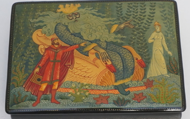 RUSSIAN LACQUER HAND PAINTED BOX