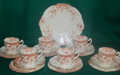"Redfern & Drakeford - tea set x 6 ""Flowers"" - United Kingdom 1892/96 - Porcelain"