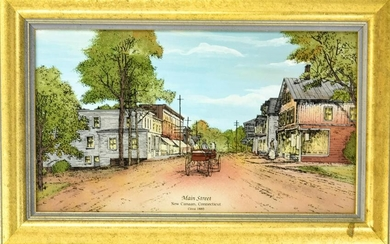 Reverse Painting of Main Street in New Canaan CT