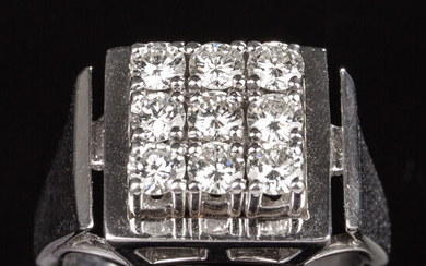 Ring of 585 white gold with brilliant cut diamonds