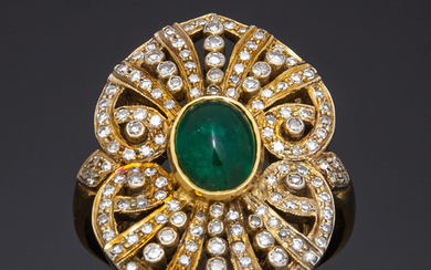 Ring with diamond and emerald, 750 gold