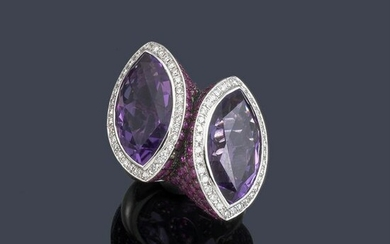 Ring with marquis cut amethyst quartz, rubies and