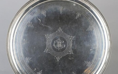 Round silver tray, BWG, 12 Loth, decorated with
