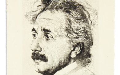 (SCIENTISTS.) EINSTEIN, ALBERT. Etched bust portrait of him by Hermann Struck, Signed at lower right, in pencil, showing him in ¾ view.