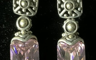 STERLING SILVER Earrings with Pink Gemstones