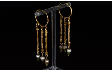 STUNNING GREEK HELLENISTIC GOLD EARRINGS WITH PEARLS