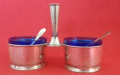 Salt cellar - .800 silver, .925 silver, cobalt blue glass / crystal - Italy - Second half 20th century
