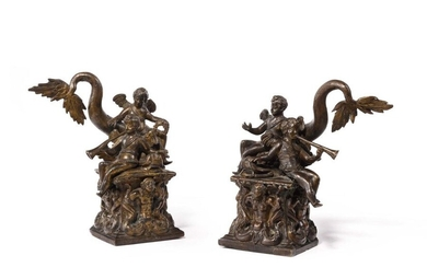 """School of Padua, surrounded by Desiderio da Firenze Pair of allegorical groups depicting putti on a dolphin resting on a base decorated with mermaids. Bronze with a light brown patina One bears a cold-worked inscription on the back """"N°15"""" ? Second..."""